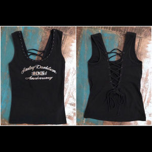 Harley Davidson Lace-Up Back Strappy Bling Top
